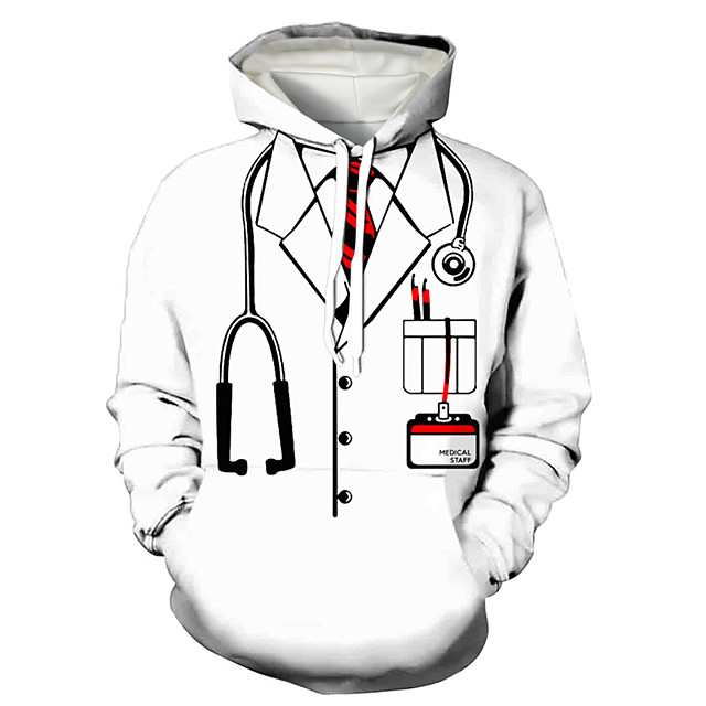 Men's Pullover Hoodie Sweatshirt Cartoon Print Daily Holiday 3D Print 3D Print Hoodies Sweatshirts  White
