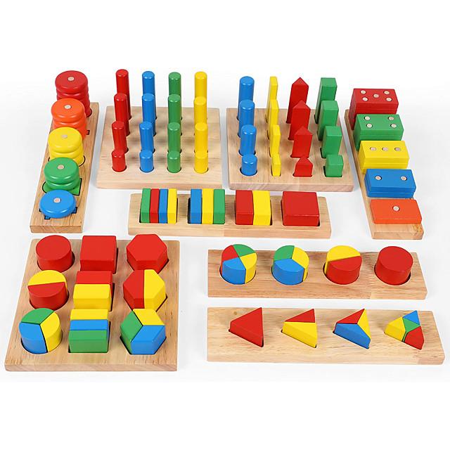 Montessori-jev nastavni alat Prikvačena slagalica Matematičke igračke 8-14 pcs kompatibilan drven Legoing U redu Obrazovanje Dječaci Djevojčice Igračke za kućne ljubimce Poklon / Dječji