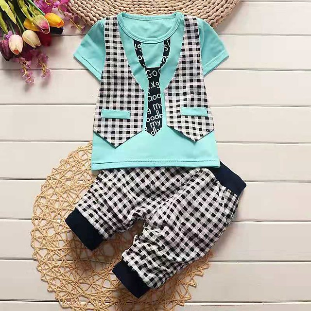 Kids Boys' Clothing Set Color Block Short Sleeve Print Cotton Daily Wear White Yellow Light Blue Active Basic Regular