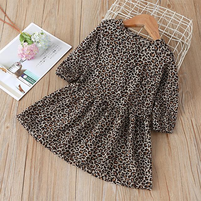 طفل صغير القليل للفتيات فستان جلد نمر طباعة بني طول الركبة كم طويل لطيف فساتين عادي