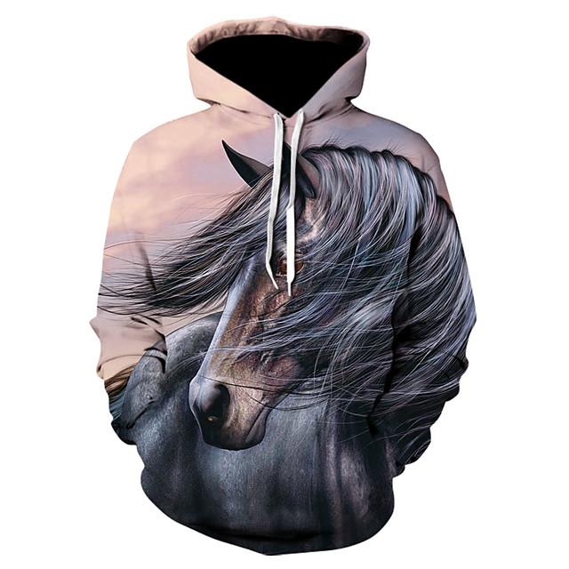 Men's Pullover Hoodie Sweatshirt 3D Print 3D Print 3D Print Hoodies Sweatshirts  White Fuchsia Light Grey