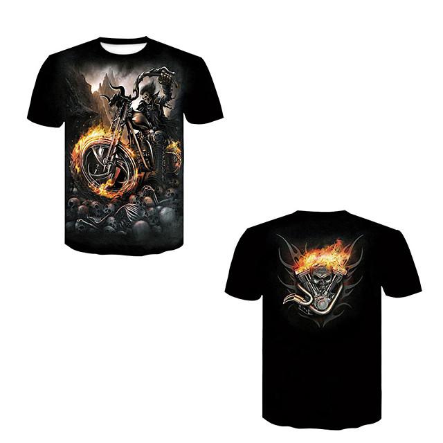 Men's T shirt 3D Print Skull Rivet Mesh Short Sleeve Casual Tops Black