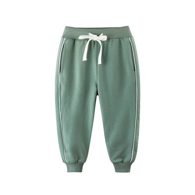 Kids Boys' Pants Solid Colored Drawstring Basic Streetwear Blue Green Gray 2-9 Years