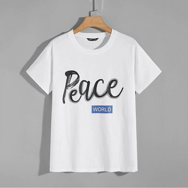 Men's T shirt Hot Stamping Letter Print Short Sleeve Casual Tops 100% Cotton Casual Fashion White