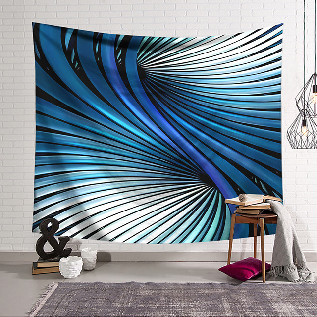 Wall Tapestry Art Decor Blanket Curtain Hanging Home Bedroom Living Room Decoration Polyester Simple Dividing Line