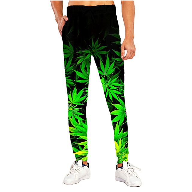 Men's Sporty Casual / Sporty Breathable Quick Dry Sports Casual Holiday Pants Sweatpants Pants Leaf Graphic Prints Full Length Print Black