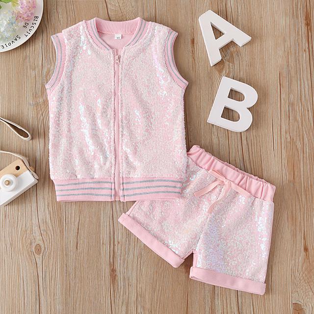 Kids Girls' Clothing Set Daily Wear Solid Colored Sequins Sleeveless Basic Regular Regular Blushing Pink