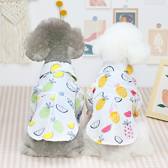 Dog Cat Shirt / T-Shirt Hawaii Fruit Basic Adorable Cute Dailywear Casual / Daily Dog Clothes Puppy Clothes Dog Outfits Breathable Pink Green Costume for Girl and Boy Dog Cotton S M L XL XXL