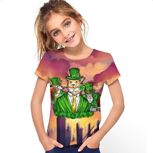 Kids Girls' T shirt Tee Short Sleeve Graphic 3D Four Leaf Clover Print Children St. Patrick Tops Active Fuchsia