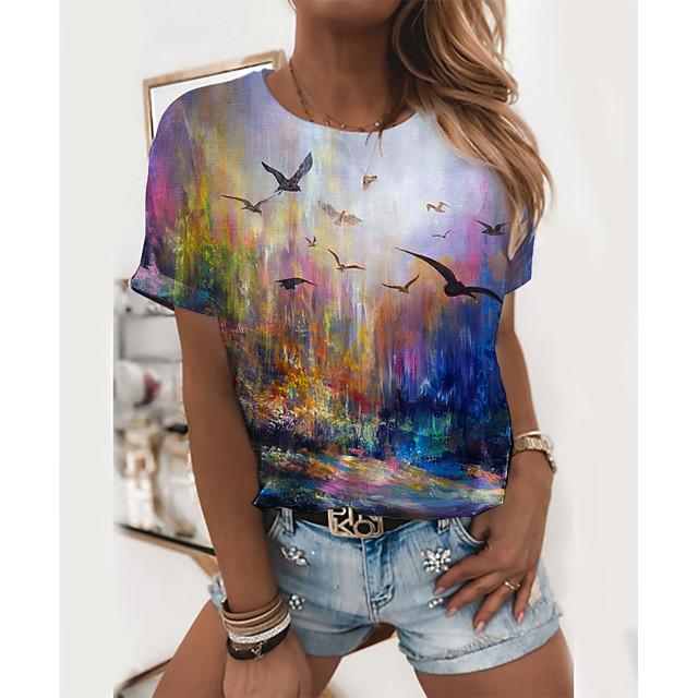 Women's T shirt Graphic Scenery Print Round Neck Tops Basic Basic Top Rainbow