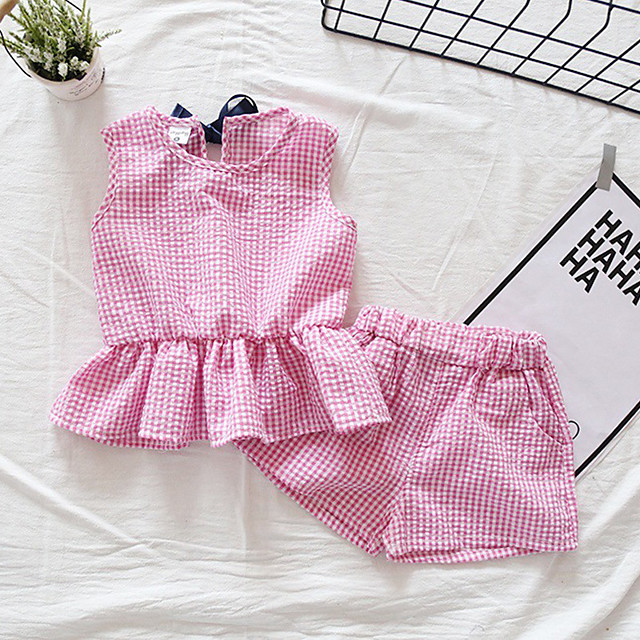 Kids Girls' Clothing Set Plaid Sleeveless Patchwork Bow Print Daily Wear Blue Blushing Pink Brown Active Streetwear Regular