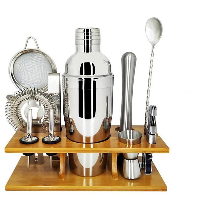 Set de instrumente izolat pentru cocteil, barman, mixer pentru cocteil, mixer de oțel inoxidabil, 750 ml, set de instrumente cu suport de bambus elegant, set perfect de barman pentru acasă și set de