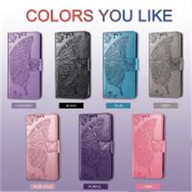 Phone Case For OPPO Find X2 / Reno 4 Pro 5G / OPPO A53 Shockproof / Embossed / Magnetic Full Body Cases Butterfly / Solid Colored PU Leather / TPU