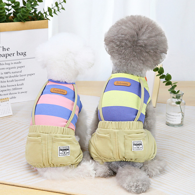 Dog Cat Jumpsuit Stripes Basic Adorable Cute Dailywear Casual / Daily Dog Clothes Puppy Clothes Dog Outfits Breathable Yellow Pink Orange Costume for Girl and Boy Dog Cotton S M L XL XXL