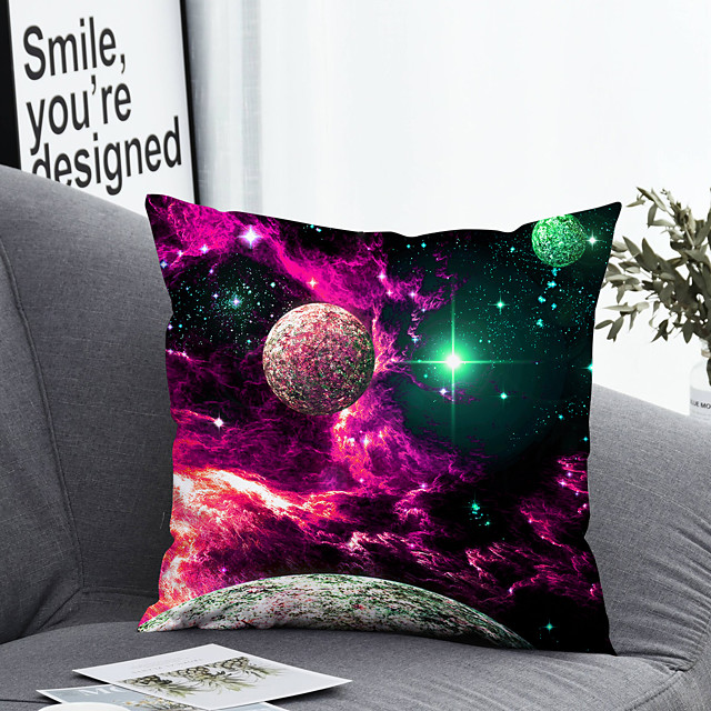 1 pcs Polyester Pillow Cover Pillow Cover & Insert, 3D Simple Classic Square Zipper Polyester Traditional Classic