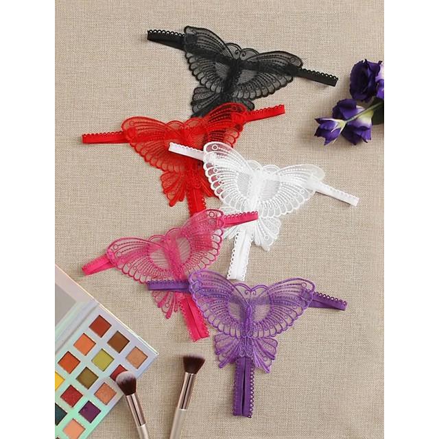 Women's 1 Piece Hole G-strings & Thongs Panties - Normal Low Waist White Black Purple One-Size