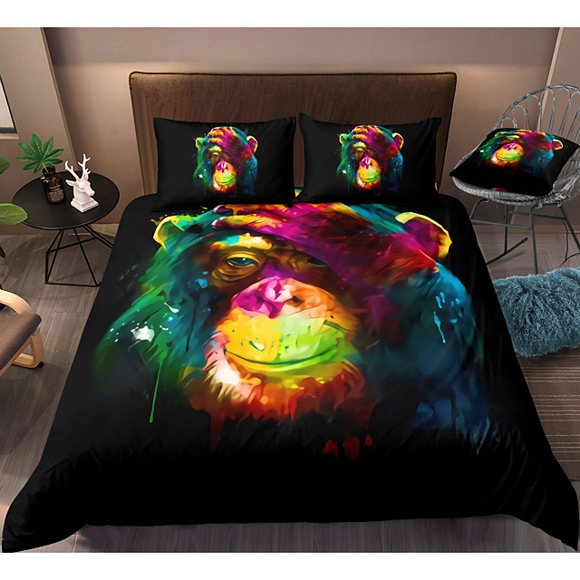 Gorilla Print 3-Piece Duvet Cover Set Hotel Bedding Sets Comforter Cover with Soft Lightweight Microfiber, Include 1 Duvet Cover, 2 Pillowcases for Double/Queen/King(1 Pillowcase for Twin/Single)