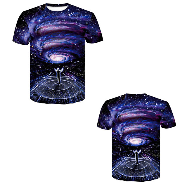 Men's T shirt 3D Print 3D Rivet Mesh Short Sleeve Casual Tops Purple