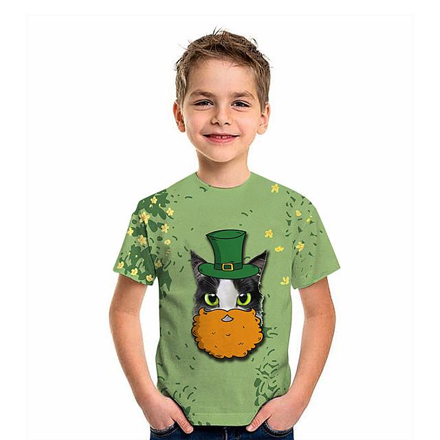 أطفال للصبيان تي شيرت كنزة مطبوعة كم قصير قطة الرسم 3D اربع اوراق برسيم طباعة أطفال القديس باتريك قمم نشيط أخضر