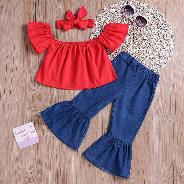 Kids Girls' Clothing Set Daily Wear Solid Colored Ruched Short Sleeve Active Basic Regular Red