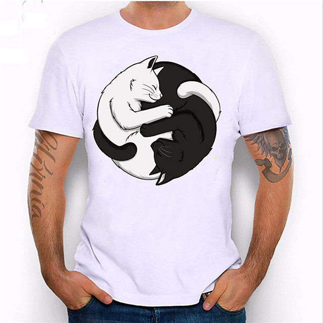 Men's Unisex T shirt Hot Stamping Cat Animal Plus Size Print Short Sleeve Daily Tops 100% Cotton Basic Casual White