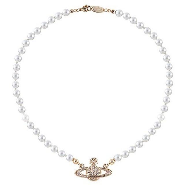 saturno collana di perle da sposa da donna con cristalli placcati in oro