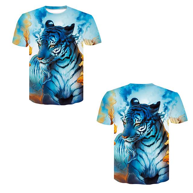 Men's T shirt 3D Print 3D Rivet Mesh Short Sleeve Casual Tops Blue