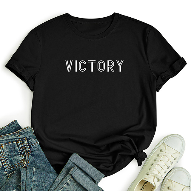 Women's T shirt Graphic Letter Print Round Neck Tops 100% Cotton Basic Basic Top Black Blue Red
