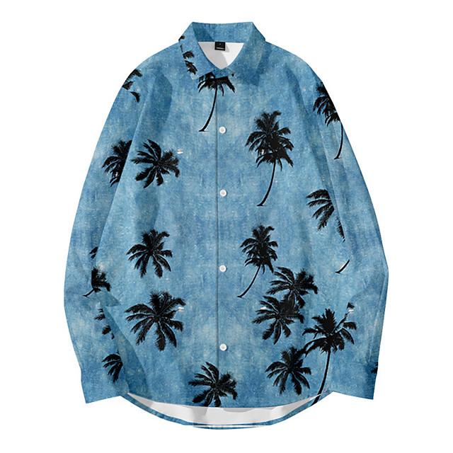 Men's Shirt 3D Print Plants Tie Dye Button-Down 3D Print Long Sleeve Daily Tops Casual Fashion Hawaiian Blue Yellow Dusty Rose