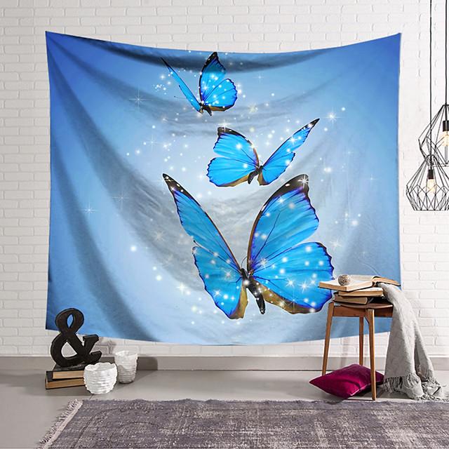 نسيج جدار ديكور فني بطانية ستارة معلقة المنزل غرفة نوم غرفة المعيشة الديكور البوليستر الأزرق فراشة