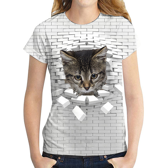 Women's T shirt Cat Graphic 3D Print Round Neck Tops Basic Basic Top Gray