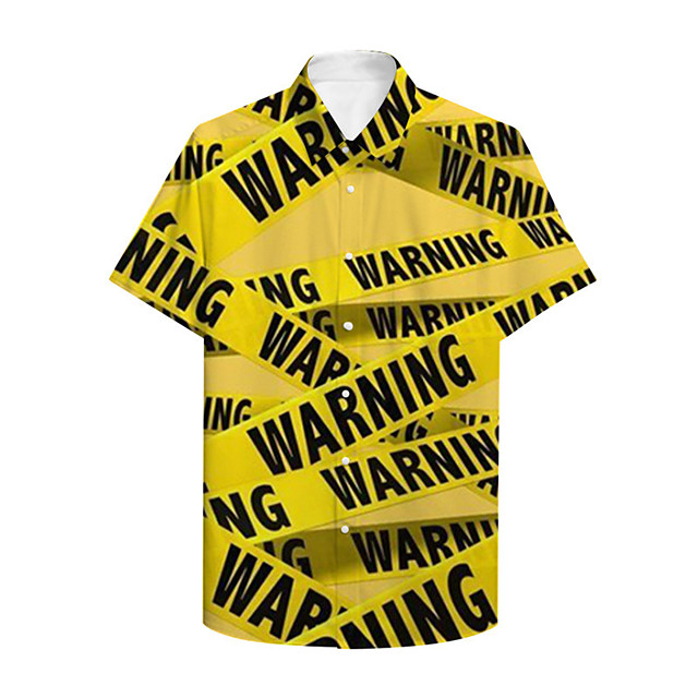 Men's Shirt 3D Print 3D Letter Button-Down 3D Print Short Sleeve Casual Tops Casual Fashion Yellow