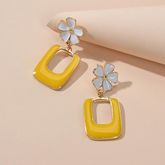 Women's Drop Earrings Geometrical Petal Cute Earrings Jewelry Yellow For Festival