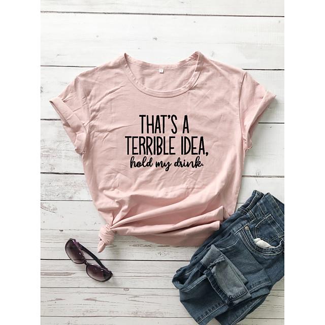 Women's T shirt Text Letter Print Round Neck Tops 100% Cotton Basic Basic Top White Black Purple