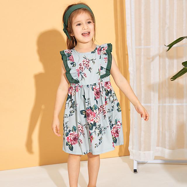 Kids Little Girls' Dress Floral Bow Print Green Sleeveless Basic Cute Dresses Regular Fit
