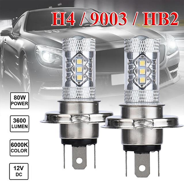 2 pcs 80w H4 16smd 6500k 7000k lumière blanche ampoule LED pour phare de voiture antibrouillard DC12 24V