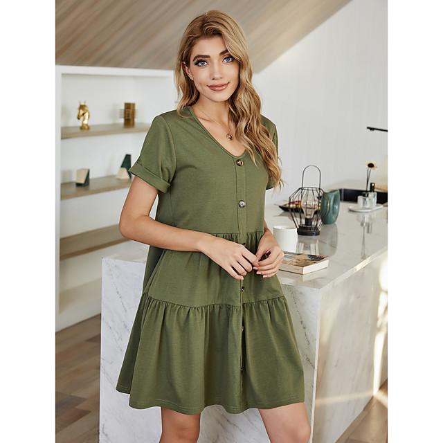 Women's A Line Dress Short Mini Dress Green Short Sleeve Solid Color Summer V Neck Casual 2021 S M L XL