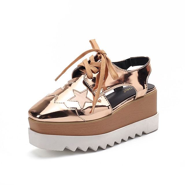 Women's Sandals Wedge Heel Square Toe Wedge Sandals Casual Daily Walking Shoes PU Lace-up Golden Black shoes Golden shoes