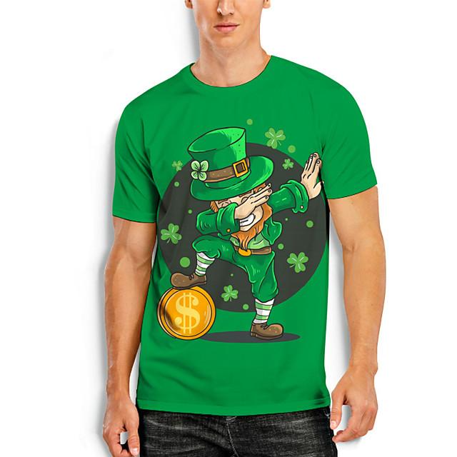 Men's T shirt 3D Print Graphic Prints Character Saint Patrick Day 3D Print Short Sleeve Daily Tops Casual Fashion Green