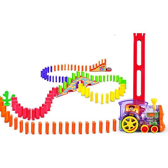 Train Domino Trains jouets et ensembles de trains Ensemble de dominos Tour Dessin animé Cadeau Anniversaire Jouets étranges Plastique Enfants Nourrisson Garçons et filles Jouet Cadeau 60+1 pcs