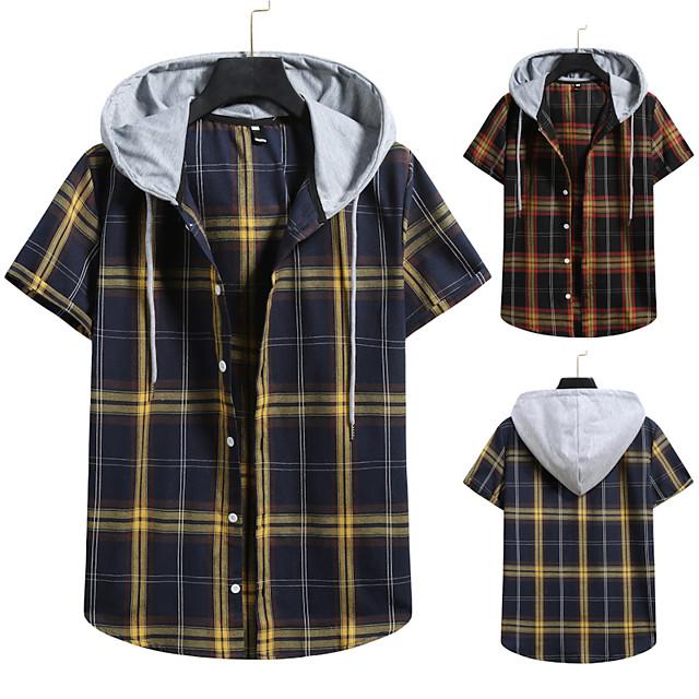 رجالي قميص غير الطباعة شعرية ألوان متناوبة قياس كبير رباط كم قصير مناسب للبس اليومي قمم عتيق أناقة الشارع أسود أزرق البحرية