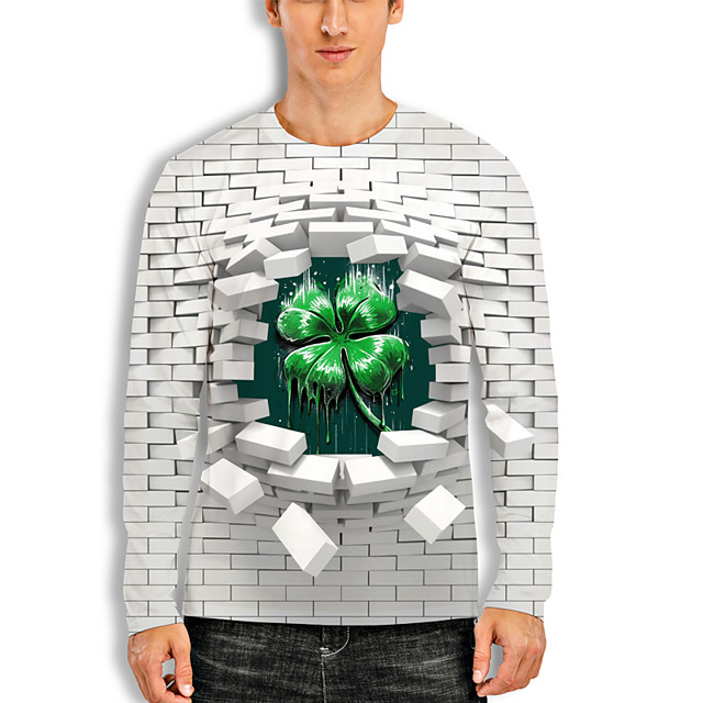 Men's T shirt 3D Print Plants 3D Saint Patrick Day 3D Print Long Sleeve Daily Tops Casual Fashion Green / White