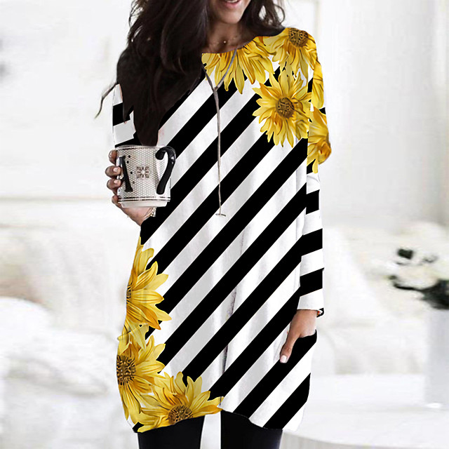 Women's T Shirt Dress Tee Dress Short Mini Dress White Black Yellow Orange Beige Long Sleeve Floral Print Color Block Print Fall Spring Round Neck Casual 2021 S M L XL XXL 3XL