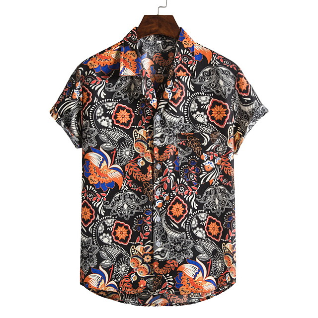 Men's Shirt Other Prints Letter Print Short Sleeve Going out Tops Chinese Style Tropical Orange
