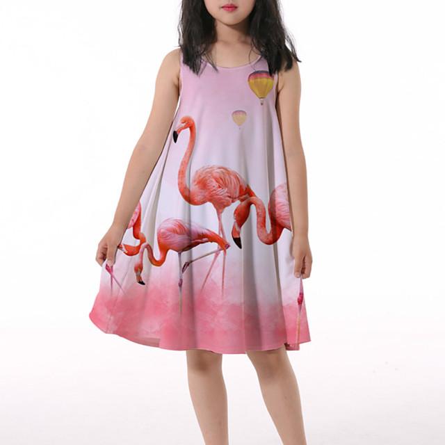 Kids Little Girls' Dress Crane Graphic Animal Ruched Print Blushing Pink Knee-length Sleeveless 3D Print Cute Dresses Loose 4-13 Years