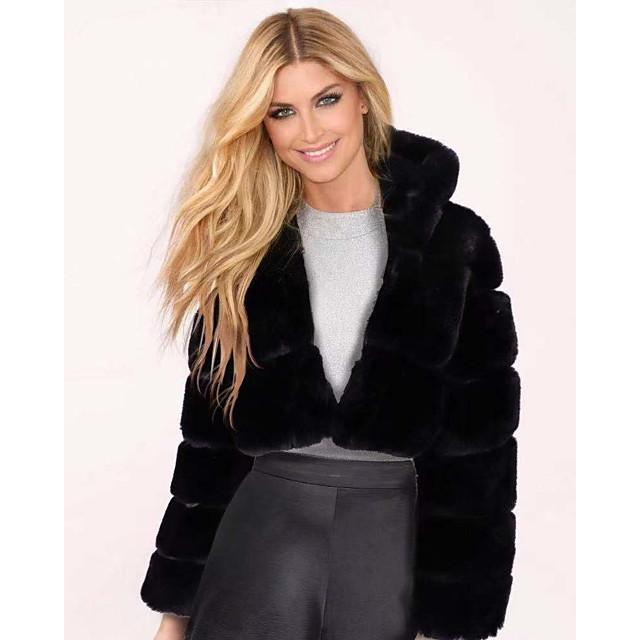 Per donna Cappotto di pelliccia sintetica Tinta unita Essenziale Autunno inverno Corto Quotidiano Manica lunga Giacca Rosso