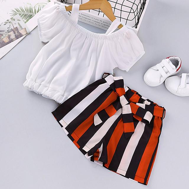 Kids Girls' Clothing Set Daily Wear Striped Print Short Sleeve Active Basic White Black Yellow