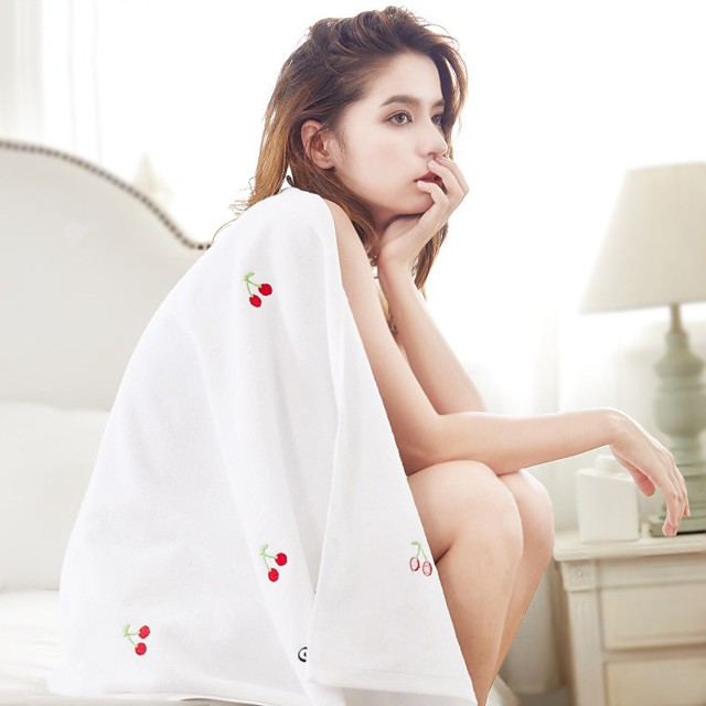 Embroidered Bath Towel Thick Absorbent Soft Towel Wrap