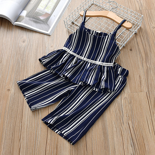 Kids Girls' Clothing Set Striped Sleeveless Patchwork Print Cotton Daily Wear Black Dusty Blue Active Basic Regular Regular