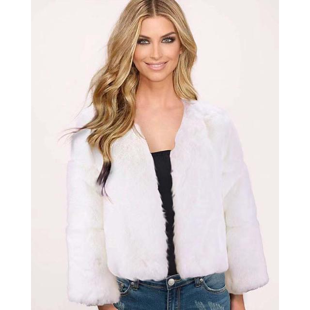 Per donna Cappotto di pelliccia sintetica Tinta unita Autunno inverno Standard Quotidiano Manica lunga Pelliccia sintetica Cappotto Top Bianco